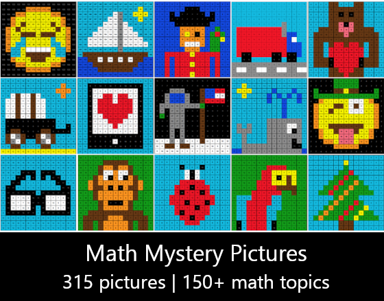 digital math mystery pictures / pixel art