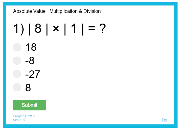 Absolute Value - Multiplication & Division