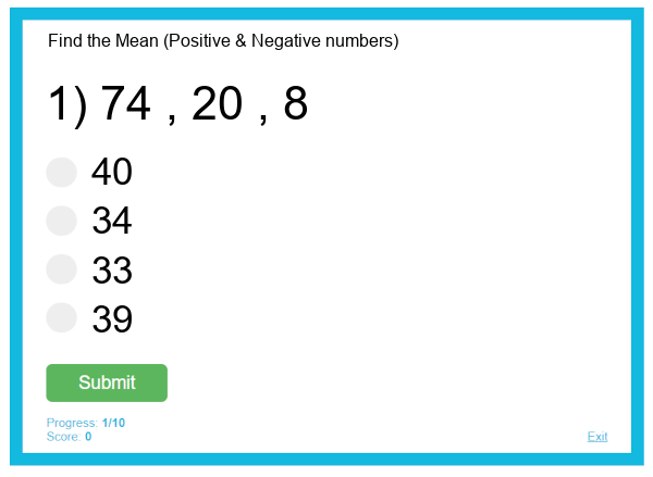 Find the Mean (Positive & Negative numbers)
