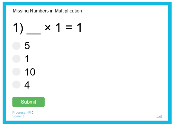 Missing Numbers in Multiplication