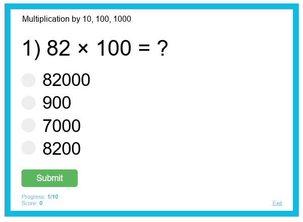 Multiplication by 10, 100, 1000