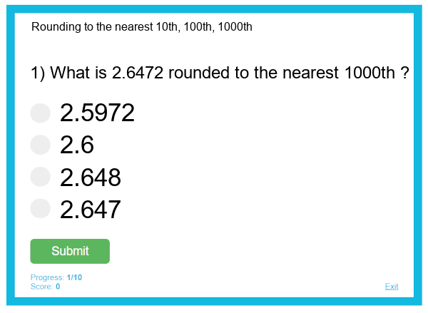 Rounding to the nearest 10th, 100th, 1000th